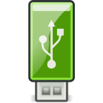 Vector clip art of small green USB stick
