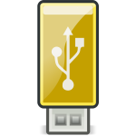 Vector graphics of small yellow USB stick