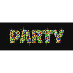 Party banner black background