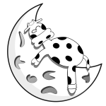 Vector drawing of lamb sleeping on half moon