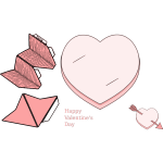 Valentine's day paper heart and arrow collection vector image