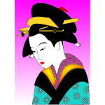 Japanese woman in colorful kimono vector drawing