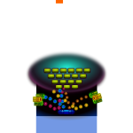 Vector image of computer game graphics shooter