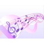 Musical notes wave vector drawing