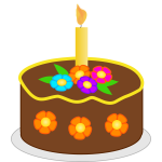Vector illustration of chocolate flowers birthday cake