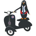 Penguin on a scooter vector image