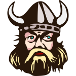 Viking head with horn vector graphics