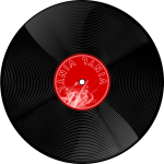 Vector image of gramophone record with shadow