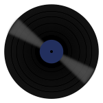 Vector image of vinyl disc with blue label