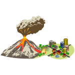 Volcano erupting near the city