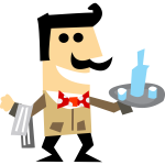 Vector clip art of waiter man with a tray