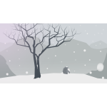 Winter scenery vector drawing