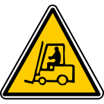 Vector illustration of triangular forklift warning sign