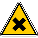 Vector graphics of triangular X warning sign