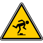 Vector graphics of triangular watch your step warning sign