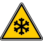Vector illustration of triangular freeze warning sign