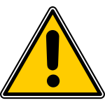 Triangular warning sign with an exclamation mark vector graphics