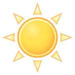 Vector drawing of color weather forecast icon for sunny sky