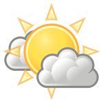 Vector image of color weather forecast icon for sunny intervals