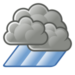 Color weather forecast icon for heavy rain vector drawing