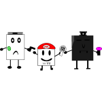 WII, Xbox and PS3 square characters vector graphics