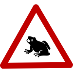 Caution frog sign vector image