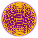 Wired globe yellow and purple vector clip art