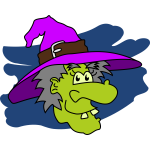Green faced witch vector drawing