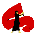 Vector illustration of proletarian woman waves the red flag