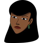 Vector clip art of black woman's head covered with scarf