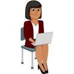Vector graphics of young woman cartoon character using a laptop computer