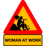 Lady at work signpost