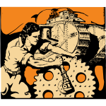 Vector clip art of woman turning a gear