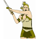 Vector clip art of medieval female warrior