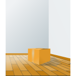 Cardboard box on a wooden floor vector illustration