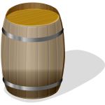 Wooden barrel with shadow