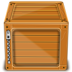 Vector image of wooden box with silver zipper