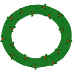 Evergreen wreath with berries vector image