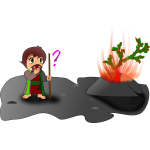 moses and the burning bush (chibi version)