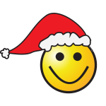 Smiley with elf hat vector