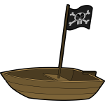 Small pirate boat with a flag vector graphics