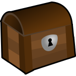 Vector image of closed wooden chest with a lock