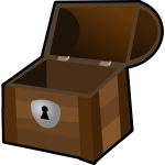 An open wooden chest with a lock vector clip art