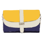 yellow tan blue handbag