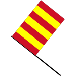 Yellow and red striped flag vector clip art