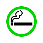 Vector drawing of green smoking area sign