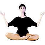 Vector drawing of lady practicing yoga