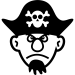 Vector graphics of big nosed young pirate with beard