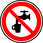 No drinking water prohibition sign vector graphics