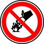 Do not use liquid on fire sign vector image